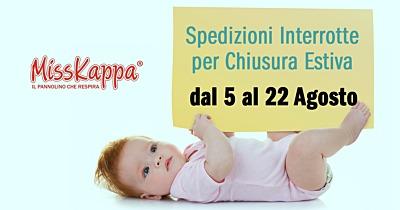 I pannolini di MissKappa vanno in vacanza dal 5 al 22 agosto